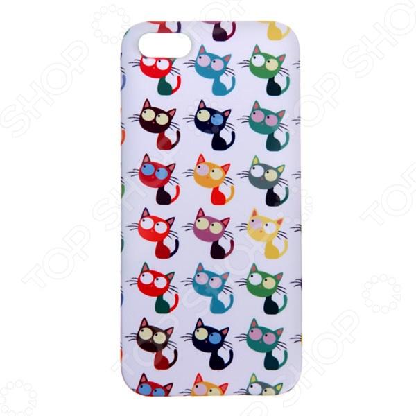 Чехол для iPhone 5 Mitya Veselkov «Цветные кошки в ряд» цена 2017