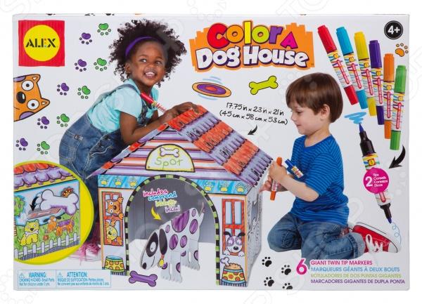 Набор для раскрашивания Alex «Раскрась домик для собаки»Раскраски<br>Набор для раскрашивания Alex Раскрась домик для собаки комплект картонных заготовок для сборки уютного домика для пса, а также самой собаки. На картонных основах уже нанесены специальные контуры, с учетом которых потом необходимо будет нанести рисунок любым понравившимся цветом. Фломастеров в комплекте 6, они двусторонние и имеют различную толщину линий. Будка для собаки имеет специальное окошко, чтобы ее можно было кормить вкусными косточками. А собрать такой домик легко можно и без ножниц, и без клея. В комплекте:  заготовки будки для собаки;  собака из картона;  косточка из картона;  двусторонние фломастеры.<br>