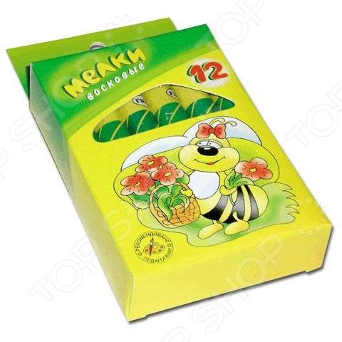 Набор мелков восковых Гамма «Пчелка»Мелки<br>Набор мелков восковых Гамма Пчелка это набор из 12 удобных восковых мелков разных цветов. Благодаря бумажной манжетке, мелки очень удобны в использовании. Руки ребенка останутся чистыми во время рисования. Экологически чистые мелки абсолютно безопасны для ребенка.<br>