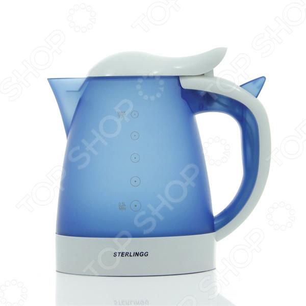 Чайник Sterlingg ZB-10103Чайники электрические<br>Чайник Sterlingg ZB-10103 это отличное решение для тех, кто любит устраивать быстрые перерывы на чай или кофе на работе или торопится сделать чай для всей семьи с утра. Это возможно благодаря нагревательному элементу, за счет которого вода закипает за несколько минут. Чайник прост в управлении и долговечен в использовании.<br>