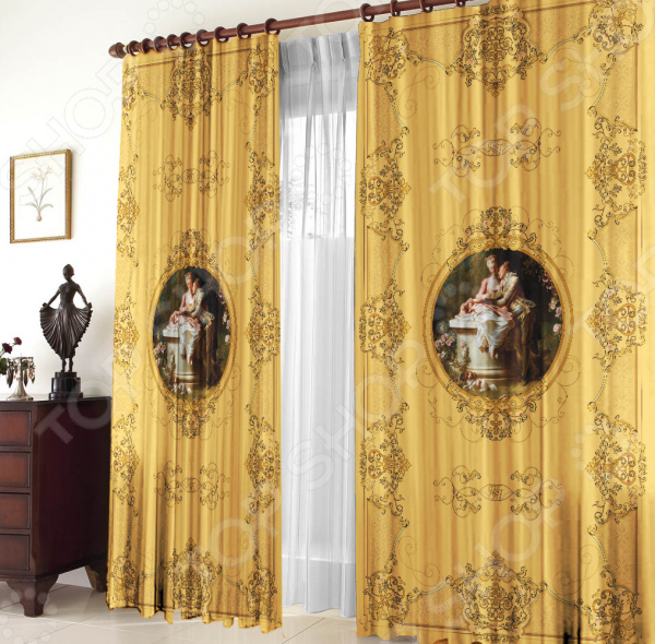 Комплект штор «Марсель»Комплект штор Марсель роскошное изделие, способное преобразить вашу спальную комнату. На плотную ткань нанесен качественный 3Д рисунок, который будет радовать долгое время. Преобразите свою комнату при помощи этих штор, достойных королевских покоев.  Роскошный дизайн будто создан для королевских покоев. Изящные мотивы с вензелями и элементы высокохудожественной портретной живописи преисполнены романтизма.  Хорошо защищают комнату от проникновения солнечных лучей.  2 полотна по 150х270 см.<br>