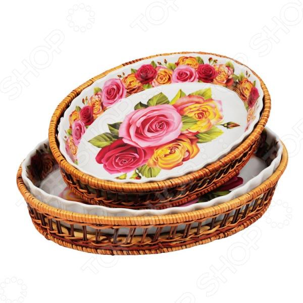 Набор форм для выпечки керамических Mayer&Boch «Домашний уют». Рисунок: розы kitchenaid kblr04nsac набор из 4 керамических кастрюль для запекания cream
