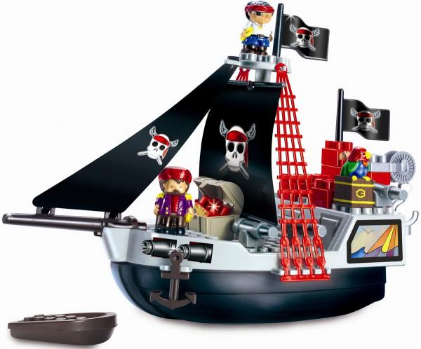 Конструктор Ecoiffier «Пиратский корабль»Другие виды конструкторов<br>Конструктор Ecoiffier Пиратский корабль универсальный комплект, состоящий из множества деталей разнообразной формы. Крепления и другие части легко соединяются между собой. С помощью элементов и приспособления для крепления, можно собрать целый пиратский корабль. Детский конструктор является достаточно практичным учебным пособием, так как он развивает память, мышление, логику и фантазию, а также моторику рук. Сборка конструктора подарит ребенку массу удовольствия и приятное времяпрепровождение.<br>