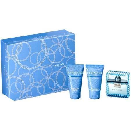 Купить Набор мужской: туалетная вода, гель для душа и бальзам после бритья Versace Eau fraiche, 50 мл