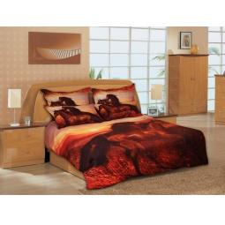 фото Комплект постельного белья Buenas Noches Koni v Stepi. Satin Fotoprint. 2-спальный