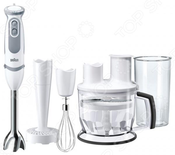 Блендер Braun MQ5077 BuffetБлендеры<br>Блендер Braun MQ5077 Buffet необходимый элемент на каждой кухне. Это надежная, удобная в использовании и практичная модель, которая будет замечательным помощником при приготовлении самых разнообразных блюд и напитков: коктейлей, соусов, пюре, салатов и пр. Благодаря эргономичному дизайну в светлых тонах блендер станет настоящим украшением любой кухни. Корпус устройства представлен прочным пластиком, устойчивым к различным механическим воздействиям. Рабочая часть блендера выполнена из высококачественного металла, лезвия из нержавеющей стали. Эргономичная форма рукоятки с прорезиненными вставками обеспечит максимально комфортное использование устройства. В блендере предусмотрен импульсный режим включить его или активировать режим измельчения можно одним лишь нажатием кнопки. Импульсный режим помогает справиться с измельчением особо твердых продуктов путем периодических остановок режущего механизма. Укомплектованная насадка кухонный комбайн поможет быстро нарезать картофель фри. Наличие 21 скорости с плавной регулировкой поможет легко подобрать нужный режим с учетом обрабатываемого продукта. Все съемные детали блендера можно мыть в посудомоечной машине таким образом, вы экономите время для других более важных дел. Максимальная скорость вращения составляет 13500 об мин, длина сетевого шнура 1,15 метра. Комплектация:  насадка-блендер съемная объем 1500 мл ;  насадка для пюре;  терка;  шинковка;  венчик для взбивания;  насадка кухонный комбайн;  мерный стакан.<br>
