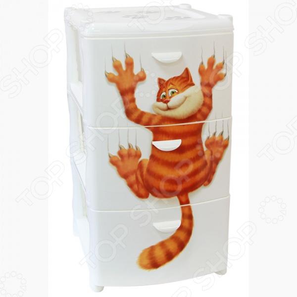 Комод IDEA Альт Деко. Кот это незаменимый атрибут для любого дома. Три выдвижных вместительных ящика, удобные ручки и устойчивые ножки обеспечат комфортное хранение одежды, белья, различных аксессуаров для вас или вашего малыша. Модель изготовлена из прочного, качественного полипропилена, поэтому прослужит долго. Благодаря элегантному дизайну и яркой расцветке, комод IDEA Альт Деко. Кот впишется в интерьер любого помещения.