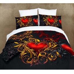 фото Комплект постельного белья Domomania Red Heart. Satin Fotoprint. 2-спальный