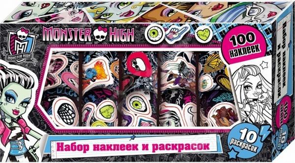 Monster High. Наклейки и раскраски в коробкеРаскраски с наклейками<br>Хочешь быть самой стильной и современной, радовать друзей и радоваться самой Тогда этот набор для тебя! Укрась свои вещи яркими наклейками! Создай чудесную открытку или приглашение на праздник, раскрасив любимых героинь и дополнив картинку красочными наклейками!<br>
