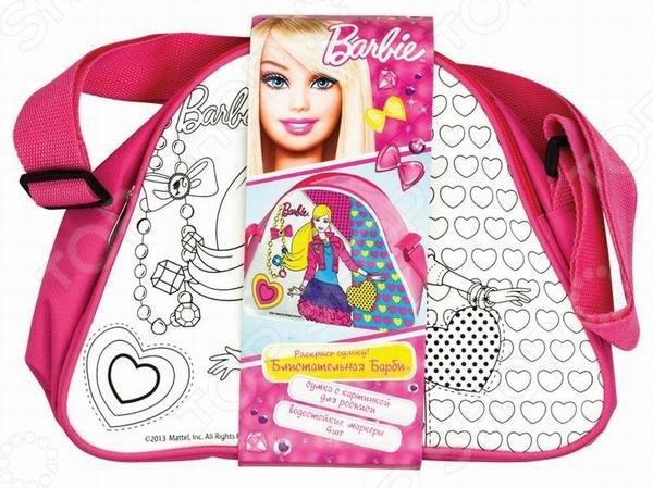 Набор для росписи сумочки Росмэн DY62011 Блистательная Барби оригинальный и полезный подарок для юной модницы и рукодельницы. Набор представляет собой сумку с нанесенным контуром, а так же 4 перманентных маркера. Девочка самостоятельно сможет разукрасить сумочку по своему желанию и вкусу. В дальнейшем сумка станет красивым и удобным аксессуаром для девочки, в которую она сможет складывать все необходимые и важные вещи и брать сумку с собой куда угодно.
