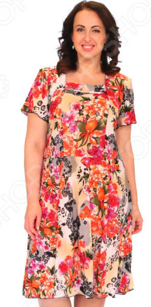 Платье «Емельяна». Цвет: оранжевыйПовседневные платья<br>Платье Емельяна это легкое платье, которое поможет вам создавать невероятные образы, всегда оставаясь женственной и утонченной. Благодаря свободному крою оно скроет недостатки фигуры и подчеркнет достоинства. В этом платье вы будете чувствовать себя блистательно в любой ситуации. Женственная длина ниже колена великолепно подойдет для любого типа фигуры. Можно отметить следующие преимущества:  Квадратный вырез горловины удлиняет шею и помогает области декольте выглядеть роскошно и соблазнительно.  Широкие рукава, которые могут скрыть несовершенства в области плеч.  Длина чуть ниже колена.  Швы обработаны эластичными нитями, поэтому не натирают кожу. Платье изготовлено из легкой ткани 95 полиэстер, 5 эластан , благодаря чему материал не скатывается и не линяет после стирки. Даже после длительных стирок и использования платье будет выглядеть прекрасно.<br>