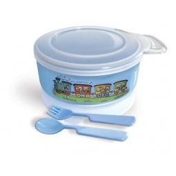 Купить Набор посуды: тарелочка с крышкой на присоске, ложка, вилка Сказка 2209. В ассортименте