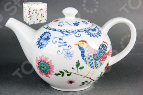 Чайник фарфоровый Коралл «Синяя птица» браслеты indira браслет бирюза коралл gl0143