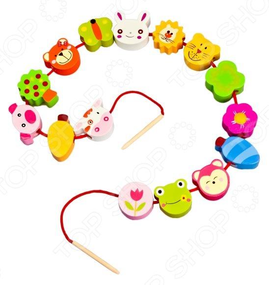 Игра развивающая для малыша Mapacha «Шнуровка - бусы. Звери» деревянные игрушки mapacha игровой набор mapacha забей шарик