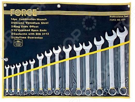 Набор ключей комбинированных Force F-5141  force 5121 набор комбинированных ключей 8 23 мм