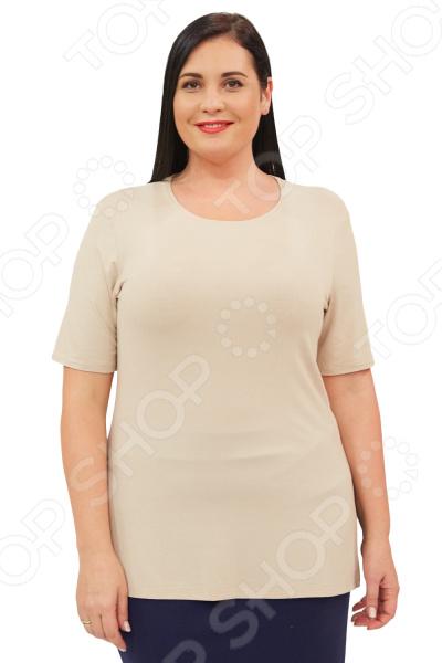 Блуза Матекс «Рамина». Цвет: бежевыйБлузы. Рубашки<br>Блуза Матекс Рамина незаменимая вещь в гардеробе модницы. Подойдет для женщин практически любой комплекции, ведь особенности кроя помогают скрыть недостатки и подчеркнуть достоинства фигуры. Эта блуза полуприталенного силуэта отлично подойдет для повседневного использования.  Удобная длина до середины бедра будет идеально смотреться на женщинах с любым типом фигуры и любого возраста.  Выразительный фасон позволяют надеть ее не только в офис или на прогулку, но и на официальные мероприятия.  Круглый вырез горловины, визуально удлинит горло и подчеркнет плавность черт.  По бокам 2 разреза. Рукава .  На фото с юбкой Венера . Блуза изготовлена из высококачественного трикотажа 95 вискоза, 5 полиэстер . Полиэстер предохраняет вещь от измятия и быстро высыхает после стирки.<br>