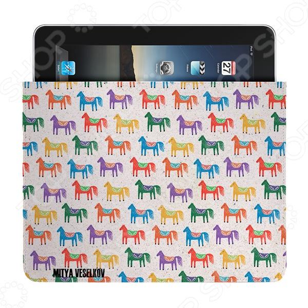 Чехол для iPad Mitya Veselkov «Цветные лошадки» чехлол для ipad iphone mitya veselkov чехол для ipad райский сад ip 08