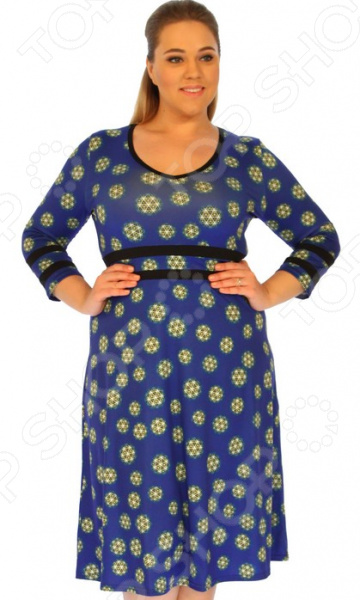 Платье Матекс «Софиты». Цвет: синийПовседневные платья<br>Платье Матекс Софиты это стильное платье, которое поможет вам создавать невероятные образы, всегда оставаясь женственной и утонченной. Благодаря полуприталенному силуэту оно скроет недостатки фигуры и подчеркнет достоинства. В этом платье вы будете чувствовать себя блистательно как на работе, так и на вечерней прогулке по городу.  По линии талии и на манжетах идут однотонные вставки.  Юбка расклешенная от талии. Длина чуть ниже колена.  Круглый вырез горловины подчеркнет вашу женственность. Платье изготовлено из мягкой ткани 100 полиэстер , благодаря чему материал не скатывается и не линяет после стирки. Даже после длительных стирок и использования платье будет выглядеть прекрасно. Не линяет, не скатывается, формы от стирки не теряет.<br>