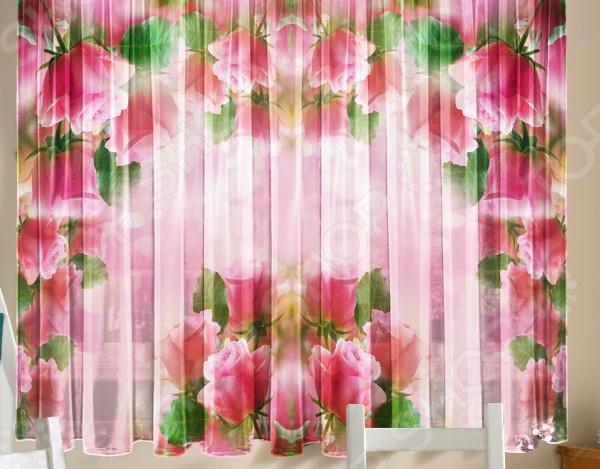 Тюль для кухни «Розовая арка» обои для кухни фото