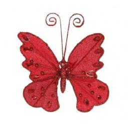 фото Елочное украшение Christmas House «Бабочка на прищепке». Цвет: красный
