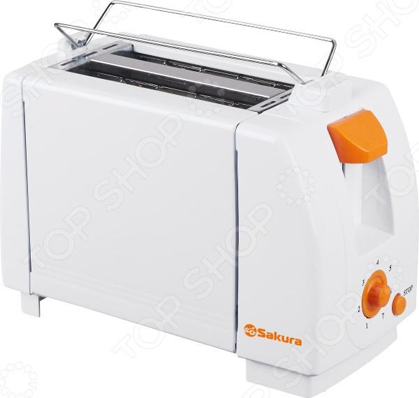 Тостер Sakura SA-7600AТостеры<br>Тостер Sakura SA-7600A настоящая находка для больших любителей поджаренных хлебцев. Простой, но функциональный тостер позволит вам в считанные секунды приготовить идеальный завтрак для всей вашей семьи. Благодаря двум отделениям для хлеба, процесс поджаривания станет ещё быстрее, а съемный поддон для крошек позволит вам оставить рабочую поверхность чистой и опрятной. Семь степени прожарки позволит вам выбрать оптимальный вариант для затравка. Поворотный регулятор степени обжарки позволит вам самостоятельно определять необходимый режим для получения идеальных подрумяненных хлебцев.<br>