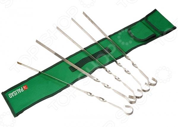Набор шампуров PALISAD Camping 69577Решетки для гриля и шампуры<br>Набор шампуров PALISAD Camping 69577 отлично подойдет для пикника в лесу или отдыха на даче. В комплект входят шесть шампуров. Изделия выполнены из высококачественной нержавеющей стали, длина каждого составляет 60 см. Витая ручка шампуров препятствует их прокручиванию, что способствует более равномерной прожарке мяса. В комплект входит нейлоновый чехол для хранения и переноски.<br>