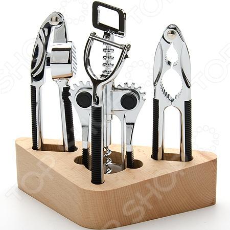 Набор кухонных принадлежностей на подставке Mayer&amp;amp;Boch MB-4215Наборы кухонных принадлежностей<br>Набор кухонных принадлежностей на подставке Mayer Boch MB-4215 станет отличным дополнением к комплекту кухонной утвари. В набор входят пять предметов: пресс для чеснока, овощечистка, штопор, щипцы для колки орехов и деревянная подставка для хранения. Инструменты выполнены из высококачественной нержавеющей стали, практичны и удобны в использовании. Торговая марка Mayer Boch это синоним первоклассного качества и стильного современного дизайна. Компания занимается производством и продажей кухонных инструментов, аксессуаров, посуды и т.д. Функциональность, практичность и инновационные решения вот основные принципы торгового бренда Mayer Boch.<br>