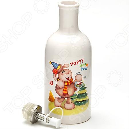 Бутылка для масла Loraine Барашек красивый сосуд для хранения оливкового или подсолнечного масла. Изделие украшено рисунком в новогоднем стиле, однако такая бутылка станет украшением вашей кухни в любое время года. Горлышко закрывается специальным металлическим разбрызгивателем с силиконовым уплотнителем.