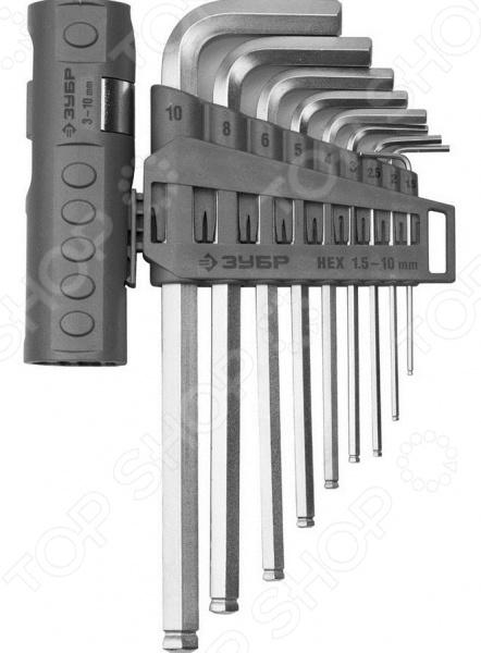 Набор ключей имбусовых с шариком Зубр «Эксперт» 2745-31-2_z01Шестигранные (имбусовые) ключи. Звездочки<br>Набор ключей имбусовых с шариком Зубр Эксперт 2745-31-2 z01 набор слесарных инструментов, используемых для завинчивания и отвинчивания крепежных деталей с HEX-шлицем. Ключи такого типа выдерживают интенсивные нагрузки и, чаще всего, применяются в сборке мебели и при ремонте автомобилей. Инструменты выполнены из высококачественной хромомолибденовой стали и снабжены прецизионной заточкой граней для обеспечения высокой точности и отличного качества выполняемых работ. Ключи оборудованы шарообразным наконечником, позволяющим отклонять их во время использования на определенный угол.<br>