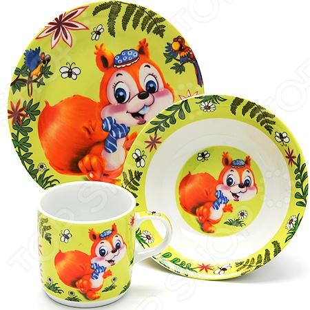Набор посуды для детей Loraine LR-24025 «Белочка» набор посуды loraine фея lr 24026 3 предмета детский