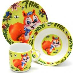 Купить Набор посуды для детей Loraine LR-24025 «Белочка»