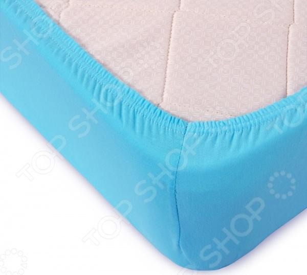 Простыня ТексДизайн на резинке. Цвет: голубой