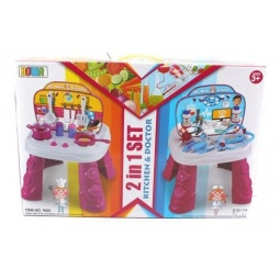 фото Игровой набор для ребенка Shantou Gepai «Столик 2в1. Кухня и доктор»
