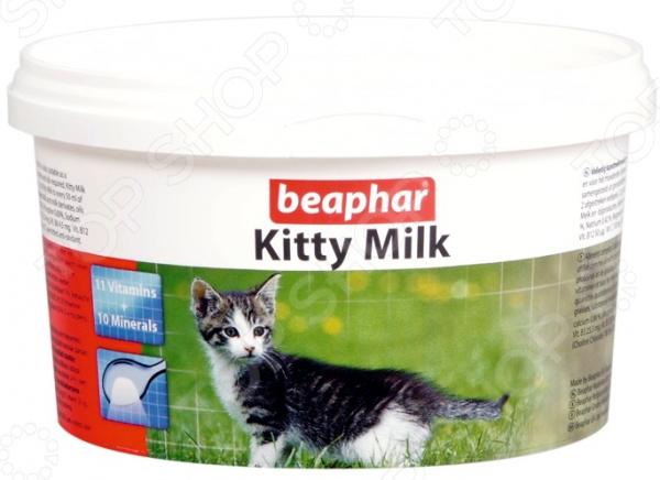 Смесь молочная для котят Beaphar Kitty MilkВитамины. Добавки для кошек<br>Смесь молочная для котят Beaphar Kitty Milk полноценный корм для котят, не получающих материнского молока, а также для беременных и кормящих кошек в качестве кормовой добавки. Возраст кормления: 0-35 дней. Смесь соответствует материнскому молоку кошки по составу и балансу протеинов, жиров, минералов и микроэлементов. Состав: концентрат белковой сыворотки, жиры, масла, витамины, минеральные вещества, DL-метионин. Содержание: протеин 24 , жиры 24 , клетчатка 7 , зола 7 , вода 3,5 , кальций 0,86 , фосфор 0,6 , натрий 0,42 , магний 0,12 . Витамины и добавки мг кг : медь 5, йод 0,14, железо 80, селен 0,10, марганец 20, цинк 40; Витамины: А 50000МЕ, D3 2000МЕ кг, Е 50мг кг, В1 5,5 мг кг, никотинамид 25,5 мг кг, В6 4,5 мг кг, В12 50 мг кг, В2 20 мг кг, С 130 мг кг, холин 760 мг кг, метионин 5 мг кг, лизин 16 мг кг; антиоксидант Е321. Применение: на 50гр теплой воды 7гр 2 мерные ложки сухой смеси. Смешивать в небольшой емкости венчиком или миксером на протяжении, по крайней мере, минуты. Смесь рекомендуется готовить в количестве, которое будет использовано в течении не более, чем восьми часов. Корм, оставшийся после этого срока, нельзя использовать. При употреблении корм должен иметь температуру 35-40 градусов.<br>