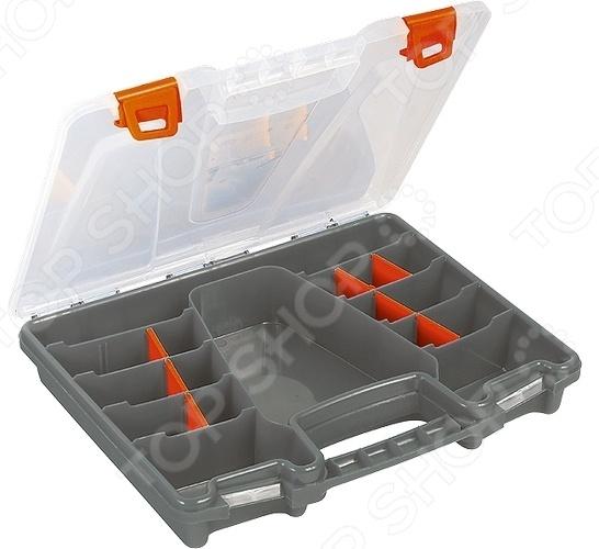 Ящик для крепежа Stels 90708Органайзеры. Ящики для крепежей<br>Ящик для крепежа Stels 90708 компактный и практичный органайзер, используемый для хранения мелких деталей и инструментов. Регулируемые секции дают возможность пользователю расположить содержимое максимально удобным для него образом. Органайзер выполнен из прочного пластика, диапазон рабочих температур от -100 до 600 градусов.<br>