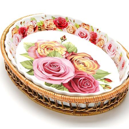 Купить Форма для запекания керамическая Mayer Boch «Утренняя роза». Рисунок: крупные розы