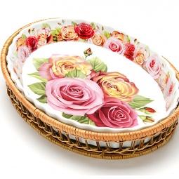 фото Форма для запекания керамическая Mayer Boch «Утренняя роза». Рисунок: крупные розы