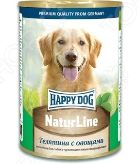 Корм консервированный для собак Happy Dog NaturLine с телятиной и овощамиВлажные корма<br>Корм консервированный для собак Happy Dog NaturLine с телятиной и овощами полноценное и сбалансированное питание для вашего питомца. Рацион не содержит в своем составе сои, консервантов и искусственных красителей и полностью удовлетворяет потребность животных в энергии и легкоусвояемом белке. Корм изготовлен из отборной телятины и обогащен всеми необходимыми витаминами, минералами и микроэлементами:  витамины группы В положительно влияют на обменные процессы в организме белковый, углеводный и жировой .  железо участвует в кроветворении;  магний и фосфор способствуют укреплению костной и хрящевой ткани;  медь улучшает усвояемость железа и помогает организму бороться с воспалительными процессами. Корм подходит для собак с чувствительным пищеварением. Состав: телятина, овощи, витаминно-минеральный комплекс, растительное масло. Питательные вещества: протеин 11 , жир 4,5 , клетчатка 0,5 , влажность 80 Суточная норма: 30-40 грамм на 1 кг веса животного.<br>