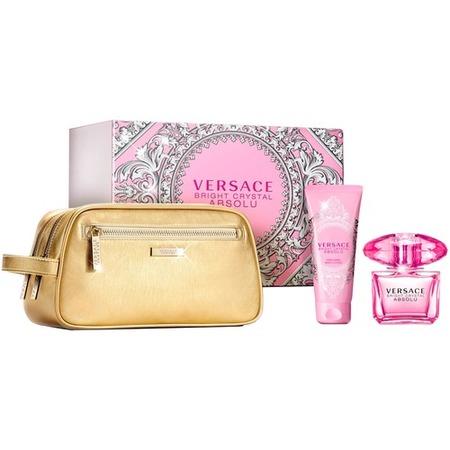 Купить Набор женский: парфюмированная вода, лосьон для тела и золотая косметичка Versace Bright crystal absolu, 90 мл, 100 мл