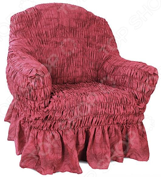 Натяжной чехол на кресло «Фантазия. Вишня»Чехлы на кресла<br>Кардинальное изменение интерьера Натяжной чехол на кресло Фантазия. Вишня инновационный чехол, который даст вторую жизнь старой мебели, поможет ей засиять новыми цветами и кардинально преобразит интерьер. Чехол станет приемлемым выбором для тех, кто хочет грамотно расходовать средства, при этом не потерять в качестве. Модель вишневого цвета, приглушенного оттенка, будет стильно смотреться в любой комнате. Преимущества  Сделан из мягкой ткани, приятной на ощупь.  Прострочен эластичными нитями по горизонтали.  Обладает повышенной износостойкости.  Ткань не деформируется и не выцветает после стирки.  Материал не просвечивает.  Высокая степень растяжимости и усадки.  Его можно не гладить.  Стоит отметить, что чехол превосходно натягивается и садится на мебель за счет эластичных нитей, а также легкой, и воздушной ткани, которая придает визуальный объем. Поэтому надеть его на кресло не составит особого труда. Преимущественно садится на кресла стандартной формы и габаритов. Защита мебели Сохранение чистоты и гигиеничности это немаловажная часть работы, с которой чехол с легкость справляется. Он используется не только трансформации интерьера, но и для защиты от пыли, пятен, а хозяев от необходимости регулярной чистки. А ведь оригинальную ткань от мебели не так то просто выстирать. Поэтому чехол будет не только красивым дополнением, но и необходимой мерой предосторожности. Ведь случаи бывают разные.  Одежда для вашей мебели Способов обновить старую мебель не так много. Чаще всего приходится ее выбрасывать, отвозить на дачу или мириться с потертостями и поблекшими цветами. Особенно обидно избавляться от мебели, когда она сделана добротно, но обивка подвела. Эту проблему решают съемные чехлы для мебели, быстро набирающие популярность в России. Незаменимы чехлы для мебели в домах с маленькими детьми и домашними животными, в гостиных, где устраиваются застолья и посиделки, в интерьерах офисов. В съемных квартирах они п