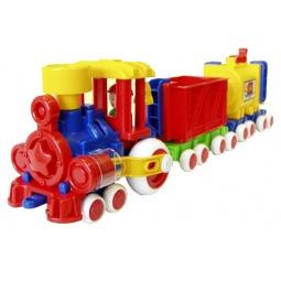 фото Паровозик игрушечный Форма с 2 вагонами «Ромашка»