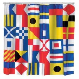 фото Занавеска для душа Kikkerland NAUTICAL FLAG