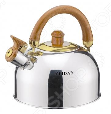 Чайник со свистком Zeidan Z-4117Чайники со свистком и без свистка<br>Чайник Zeidan Z-4117 оборудован свистком для определения закипания воды и изготовлен из высококачественной нержавеющей стали. Корпус из стали долговечен, не подвергается коррозии и обладает антиаллергенными свойствами. Подвижная ручка модели очень удобна и не нагревается, т.к. изготовлена из бакелита. Широкое капсулированное дно распределяет тепло равномерно по всей поверхности, что обеспечивает быструю скорость закипания воды и устойчивость изделия. Герметичная крышка не пропускает пар, поэтому вода долго остается горячей. Изящная форма чайника и зеркальная полировка корпуса придают ему эстетичности на столе. Подходит для всех типов плит, включая индукционные. Чайник поставляется в подарочной упаковке с пластиковой ручкой.<br>