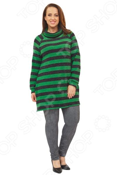 Свитер Матекс «Мартина». Цвет: зеленыйДжемперы. Кардиганы. Свитеры<br>Свитер Матекс Мартина это удлиненный свитер, который поможет вам создавать невероятные образы, всегда оставаясь женственной и утонченной. Благодаря отличному дизайну он скроет недостатки фигуры и подчеркнет достоинства. Свитер прекрасно смотрится с брюками и юбками, а насыщенный цвет привлекает взгляд. В этом свитере вы будете чувствовать себя блистательно как на работе, так и на вечерней прогулке по городу. Свободный крой и универсальная длина делают свитер одеждой на все случаи жизни, а удобные длинные рукава с манжетами скрывают полноту рук. Воротник стойка визуально удлинит горло, подчеркнет плавность черт. По бокам есть 2 разреза. На фотографиях свитер представлен с леджинсами Slim Jeggings. Блуза изготовлена из мягкого трикотажа 100 полиэстер , благодаря чему материал не скатывается и не линяет после стирки.<br>