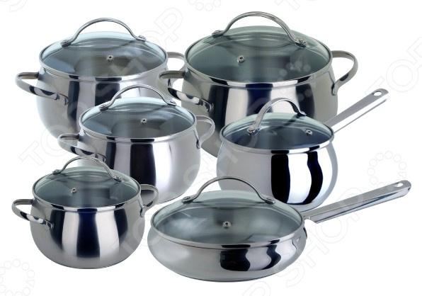 Набор посуды для готовки Regent AppleНаборы посуды для готовки<br>Набор посуды для готовки Regent Apple состоит из посуды, изготовленной из высококачественной нержавеющей стали 18 10. Оригинальный дизайн сделает их отличным украшением любой кухни и непременно порадует качеством. Посуду удобно использовать для тушения мяса и овощей, для приготовления голубцов, солянки, жаркого или плова. Специальные крышки из стекла и нержавеющей стали с пароотводом для контроля за приготовлением. Особая конструкция и многослойное дно обеспечивает равномерное распределение тепла, возможность деформации при использовании, полностью исключается. Особенности:  Первоклассная сталь;  Равномерное нагревание поверхности. В комплекте:  Ковш 2л. со стеклянной крышкой.  Кастрюля 2л. со стеклянной крышкой.  Кастрюля 2,7л. со стеклянной крышкой.  Кастрюля 3,6л. со стеклянной крышкой.  Кастрюля 6,7л. со стеклянной крышкой.  Сковорода 3л. со стеклянной крышкой.<br>