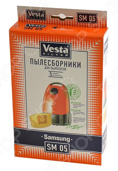 Мешки для пыли Vesta SM 05Аксессуары для пылесосов<br>Мешки для пыли Vesta SM 05 - удобные и практичные в использовании. Представляют собой комплект сменных мешков-пылесборников для следующих моделей пылесосов: Samsung: RC5500-5599, VC5000-VC5099,VC-900E, VC-1000E Alaska : BS1400 Karcher: TSC500, TSC505, TSC550, TSC555 LG Electronics: V2600,V2620. В набор входит 5 пылесборников для сухой уборки, изготовленных из двухслойной фильтровальной бумаги. Мешки обеспечивают высокий уровень очистки воздуха.<br>