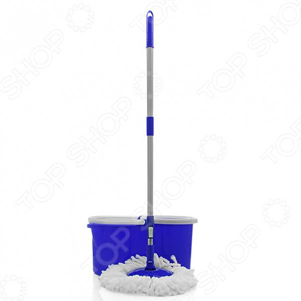 Комплект для уборки EUROTEXШвабры и щетки<br>Комплект для уборки EUROTEX удобное и практичное приобретение для вас и вашего дома! Швабра отлично справится с влажной и сухой уборкой различных типов поверхности. За счет эффективной отжимной системы, уборка будет проходить очень быстро и легко. К тому же ваши руки будут всегда чистыми и сухими, ведь вам больше не придется вручную отжимать насадку. Прекрасный результат уборки гарантирует насадка из микрофибровых волокон, которая бережно очищает такие поверхности как кафель, мраморной пол, паркет, ламинат или линолеум. Особое преимущество этого материала заключается в том, что он не оставляет следов и разводов на полу, легко собирает крупный и мелкий мусор, поэтому вам не придется тратить большое количество чистящих средств. Оцените преимущества этого комплекта:  стержень швабры позволяет легко менять углы наклона во время уборки, поэтому её можно использовать даже в труднодоступных местах;  в комплект входит специальное ведро с отжимной центрифугой;  насадка имеет вращающуюся конструкцию;  простая система отжима запускается одним нажатием на ручку швабры;  центрифуга позволяет добиться идеального, максимально сухого отжима.<br>