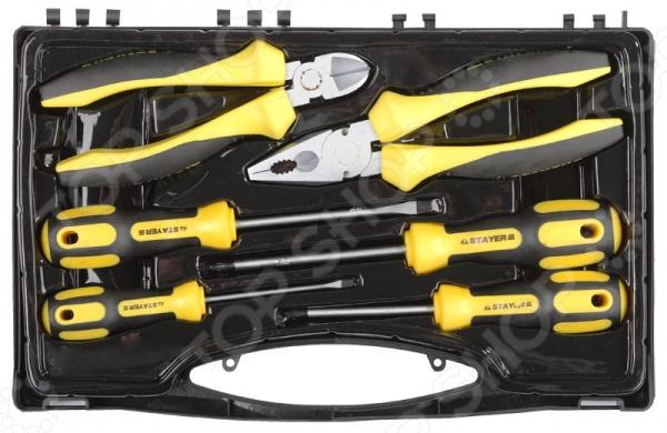 Набор слесарно-монтажного инструмента Stayer Profi-Ultra 2202-H6 набор ключей накидных изогнутых stayer мастер 27151 h6