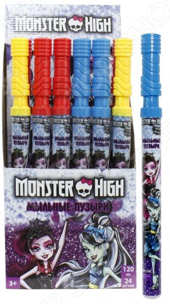 Мыльные пузыри 1 Toy Monster High. В ассортиментеМыльные пузыри<br>Товар продается в ассортименте. Цвет изделия при комплектации заказа зависит от наличия товарного ассортимента на складе. Мыльные пузыри 1 Toy Monster High это замечательный подарок для вашей малышки! Что может быть увлекательнее, чем выдувать мыльные пузыри и наблюдать за тем, как они парят в воздухе Переливаясь в лучах солнца, большие или маленькие невесомые шарики дарят радость и хорошее настроение не только ребенку, но и его родителям. Мыльные пузыри будут хорошим дополнением к праздничному мероприятию, например, детскому утреннику или Дню Рождения. Колба покрыта термопленкой с тематическим рисунком. Объем составляет 120 мл.<br>