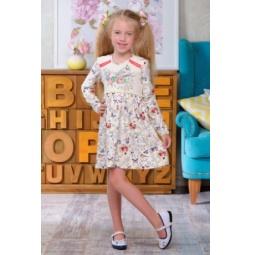 фото Платье для девочки с длинным рукавом Detiland AW15-UKN-GDS-036. Цвет: молочный. Рост: 122 см